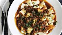 Beef Bolognese over Homemade Gnocchi