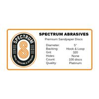 "Spectrum Sandpaper 80 to 800 grit 5"" and 6"" diameter hook and loop"