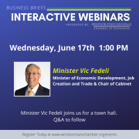The Honourable Vic Fedeli - Business Briefs Interactive Webinars - Limited to 100 Guests