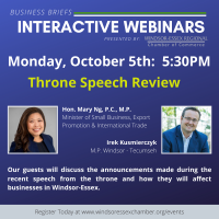 Business Briefs Interactive Webinars - Throne Speech Review - limited to 100 guests