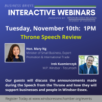 Business Briefs Interactive Webinars - Throne Speech Review