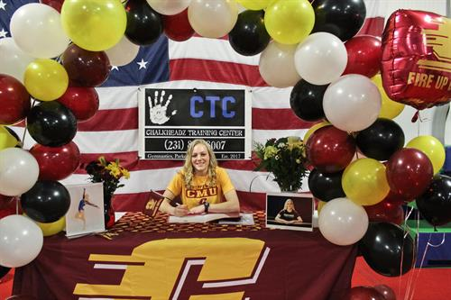 Avah is the 1st gymnast in Mason county area to sign and will compete for a Division 1 college. CMU…FIRE UP CHIPS!