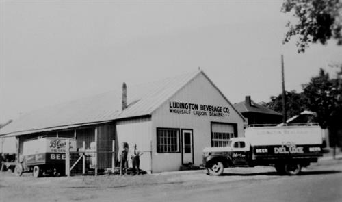 Ludington Beverage Company's first warehouse in 1933 after the repeal of Prohibition