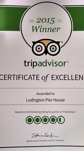 Excellence Award from TripAdvisor. Several years consecutively now! We work hard to please our guests!