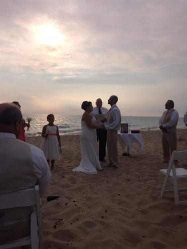 Wedding on the beach! Our guests take advantage of a great sunset!