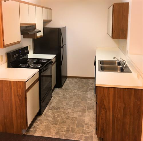 Kitchen in a Regular Oaks Apartment