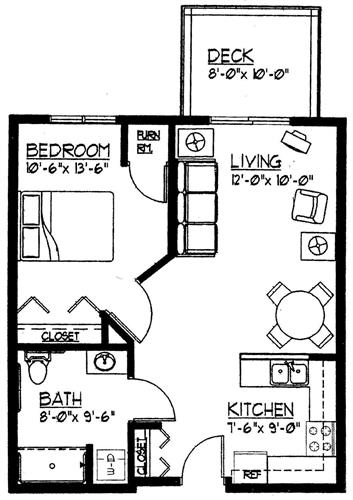 1 Bedroom Floor Plan at The Manor