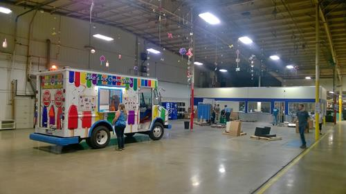 Employee appreciation day INSIDE Metalworks. Ice cream for all workers, Paid for by the boss. Yeah!