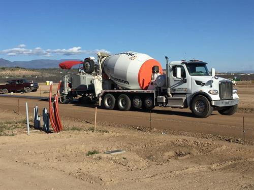 Hanson Ready Mix Truck pouring concrete