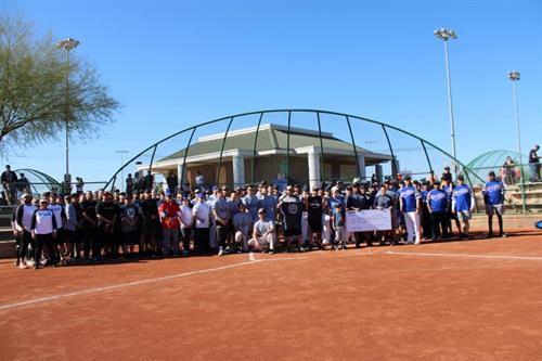 Hanson's softball team participating in the Arizona Rock Product Association annual softball tournament. Tournament donations and support went to Patrick's Camp foundation that raises awareness for Spina Bifida