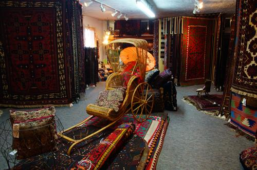 Kilims and felts are all available in the upstairs showroom too...