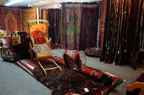 The upstairs showroom= felts and kilims galore...