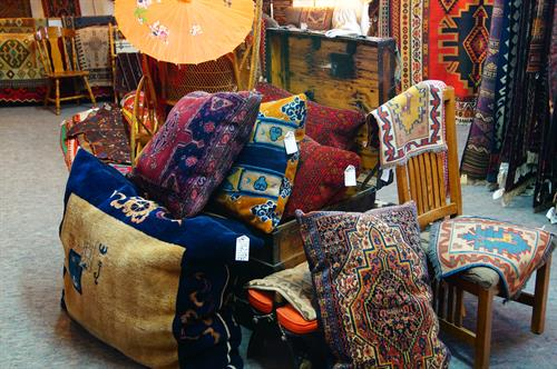 Old rugs converted into dog beds....