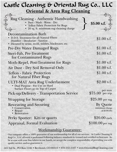 What the costs are for Washing rugs....