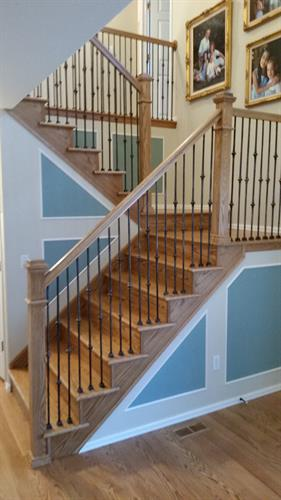 Stairs, Handrail, Spindles and floor completed by Linnertz Hardwood Flooring