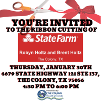 Ribbon Cutting Celebration for Robyn & Brent Holtz Statefarm