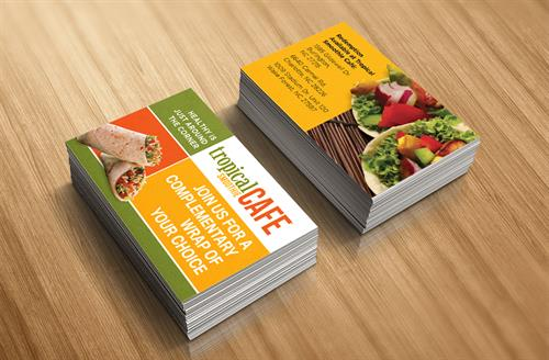 Tropical Smoothie Cafe logo and business cards
