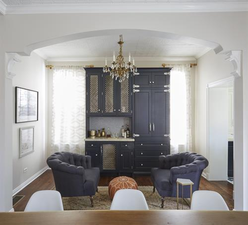 gut rehab design remodel living room butlers pantry Chicago