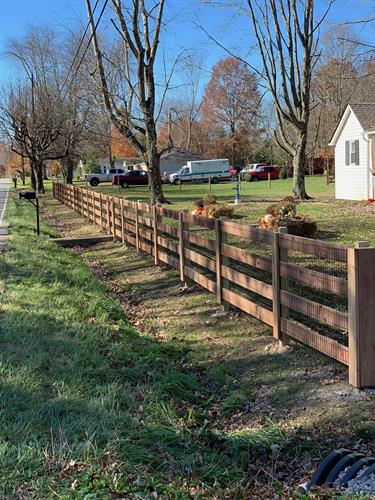 4-rail Kentucky Board Fence with wire liner