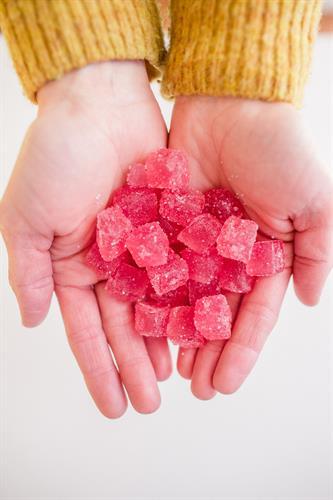 Strawberry lemonade CBD gummies with 10 mg CBD each.