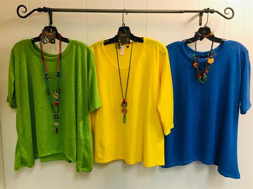 Bright light weight slub linen tops and bold colorful jewelry