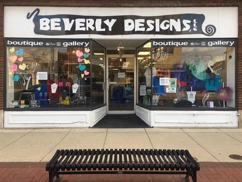 The ever-changing window displays and front entrance to BEVERLY DESIGNS