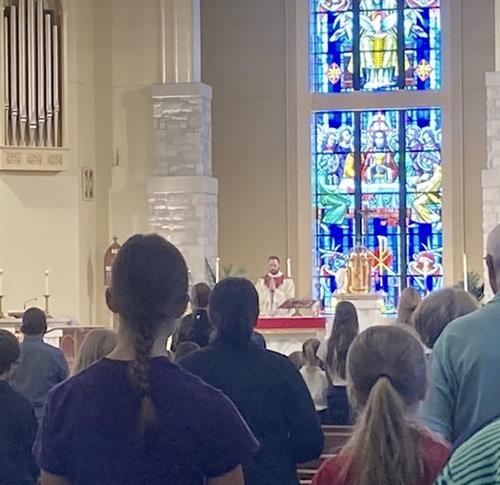 Fr. Gibson at a School Mass