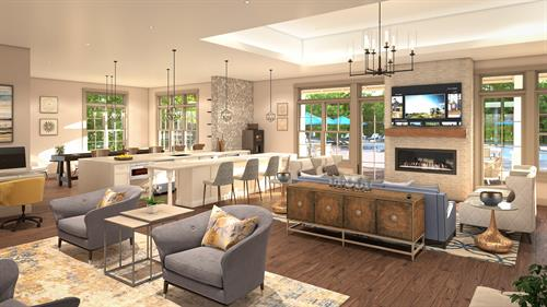 Gorgeous Clubhouse featuring lounge, game room, and business center