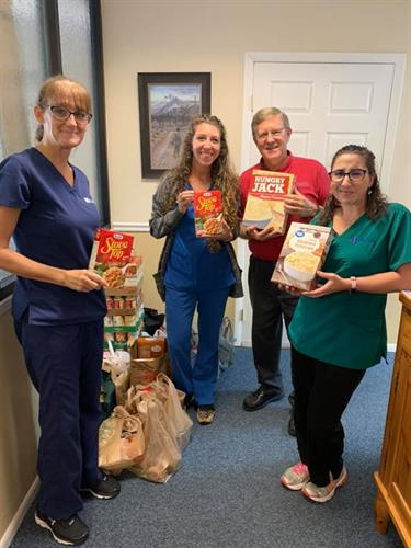 Community businesses help HOPE provide Thanksgiving and Christmas meals to local families.