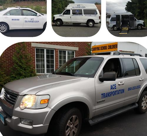 This is just a few vehicles Ace Transportation has to offer. We provide School, Medical, and Airport service... You can download our app, email csr@acetransportsct.com, or remember all you need is 2 by dialing 860-222-2222