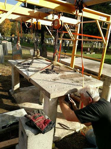Will works on a table-stone