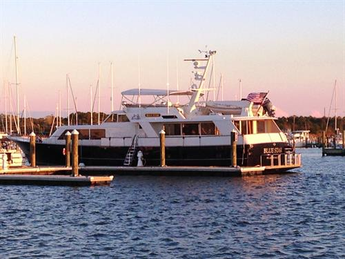Our transient slips offer peaceful dockage for vessels to 125 feet with water and electrical hookups (30A, 50A and 100A service).