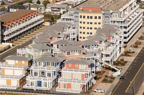 Coastal Colors Condominium located on the beach of Wildwood Crest, NJ.  This luxury oceanfront community consists of sixteen single family custom homes along with a large six story condominium building.  Our services included the exterior painting of all fiber cement siding and trim.