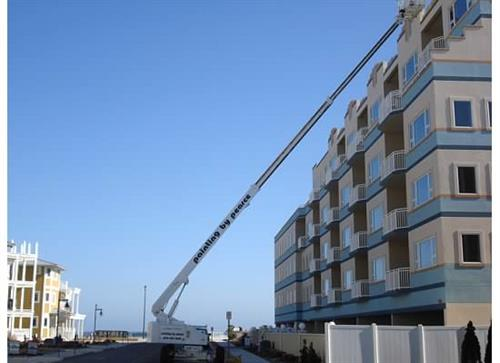 The Royal Beach Condominium is a five story oceanfront condominium and is located on the beach of Wildwood Crest, NJ.  All work was performed using our aerial boom lifts which provided safe and efficient workmanship during the process of coating all EIFS surfaces.