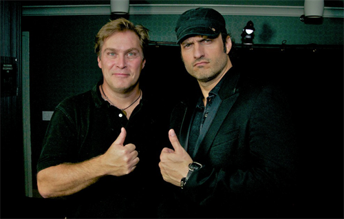 Producer/Director Robert Rodriguez give the thumbs up after filming a PSA