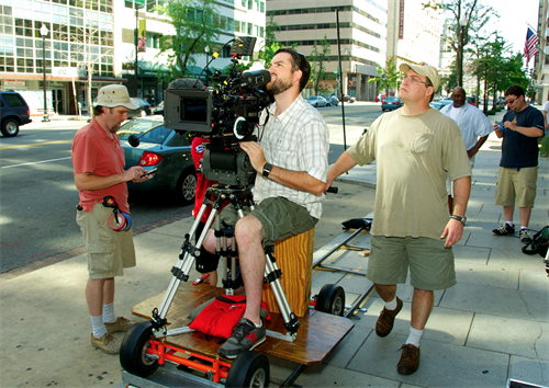 Working as a dolly grip for an independent film in DC
