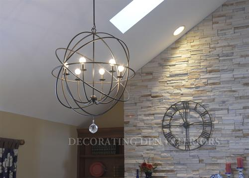 Family Room - Orb Chandelier and Wall Clock
