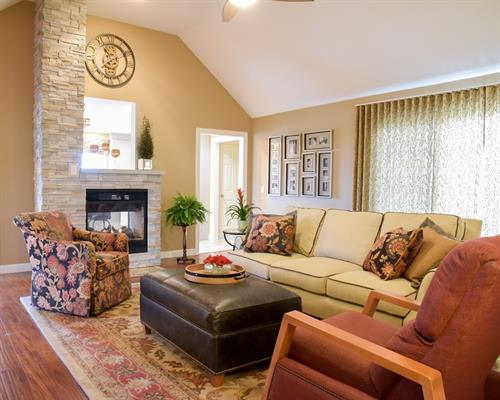 Family Room - with Cultured Stone Fireplace View