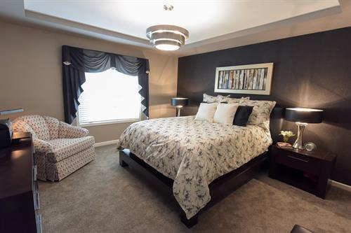 Master Bedroom with Black & Gold Accent Wallcovering