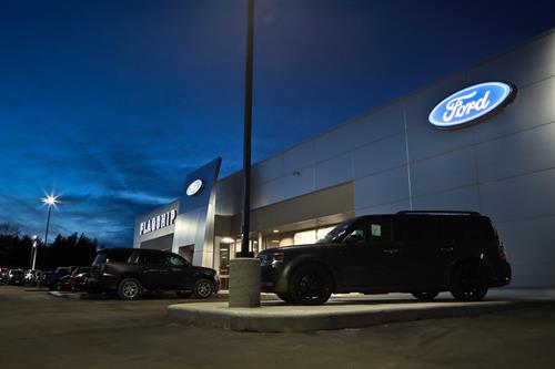 Nigh Shot of the Front of the newly remodeled Flagship Ford building