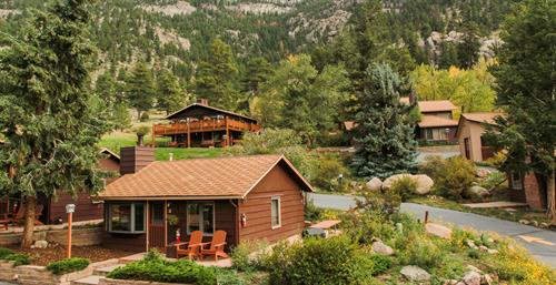 Cabins bordering Rocky Mountain National Park
