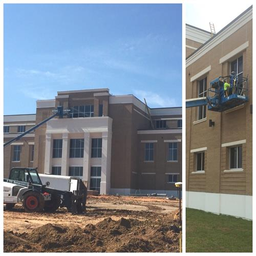 Construction window cleaning at MGCCC