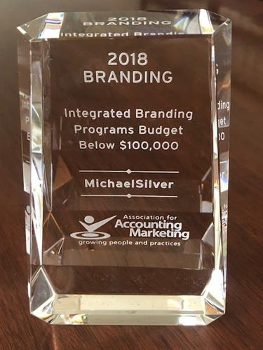 MichaelSilver Receives A Marketing Achievement Award in 2018 for Branding