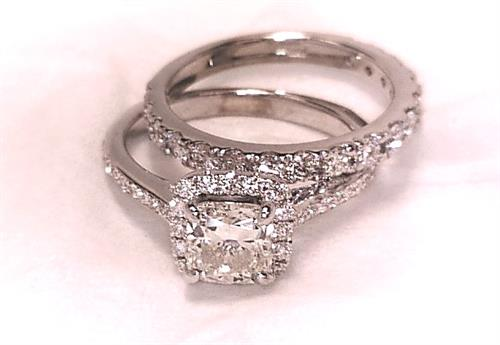 Custom Designed and Hand Made Platinum Wedding Set set with1.00 Ct.cusoon cut Diamond and all F VS.