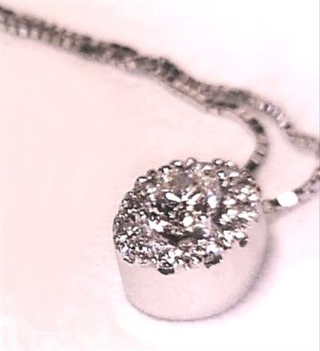 Custom made 14k white gold oval diamond halo pendant