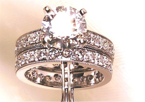 Custom Platinum vintage engagement and Mathing wedding band set wit 2ct. GIA center and all F VS diamonds