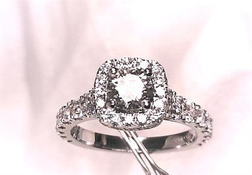 14k white gold cushion halo prong set engagement all F VS diamonds