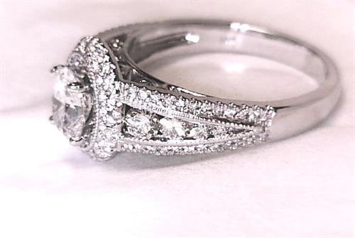 Custom Designed and Hand Made double halo engagement ring set with All F Color VS1 Diamonds.