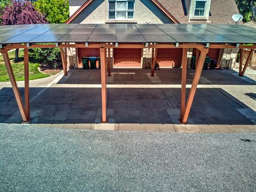 Double Carport in Chico matching the trim of the home!