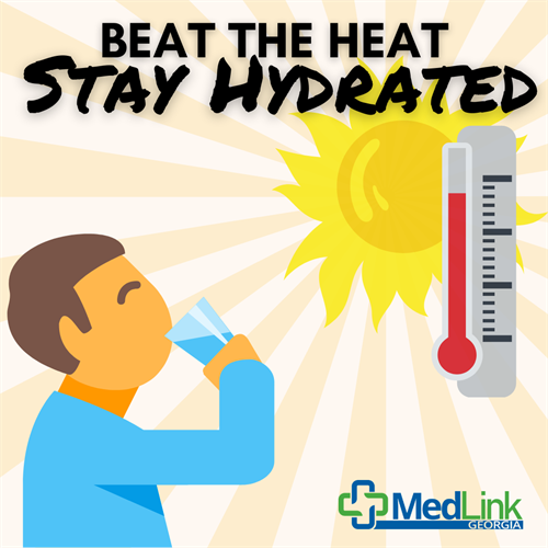 As the summer temperatures go up, and we spend more time outdoors, so does the risk of heat stress.  Drinking enough fluids is one of the most important things you can do to prevent heat illness.  While outdoors, drink plenty of water and avoid alcohol and energy drinks that could dehydrate you.  Be sure to take plenty of breaks from the heat by going indoors to air conditioned areas, when available.